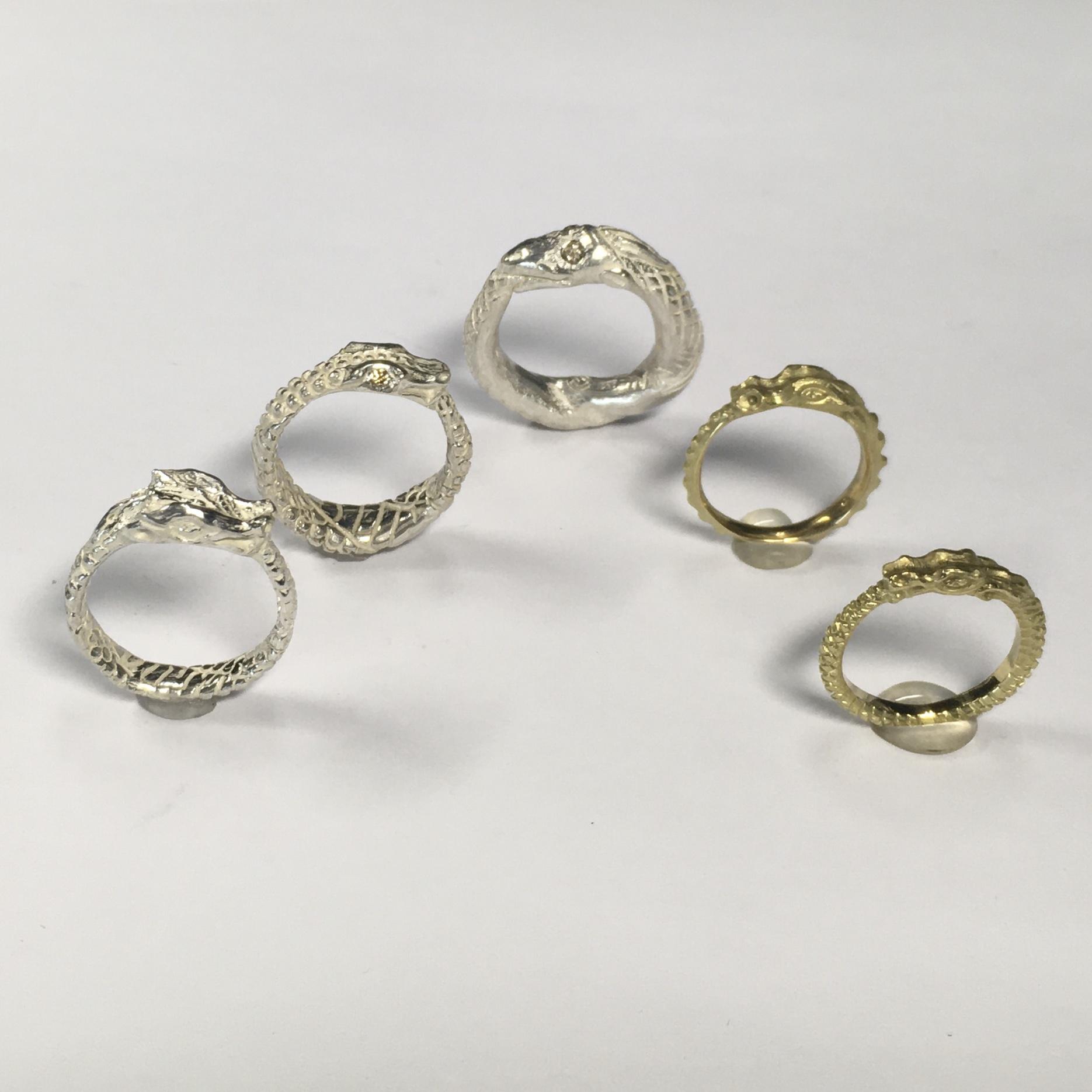 """""""Ouroborus"""" Schwanzverzehrer, Gold, Silber, Brillanten, Diamanten"""