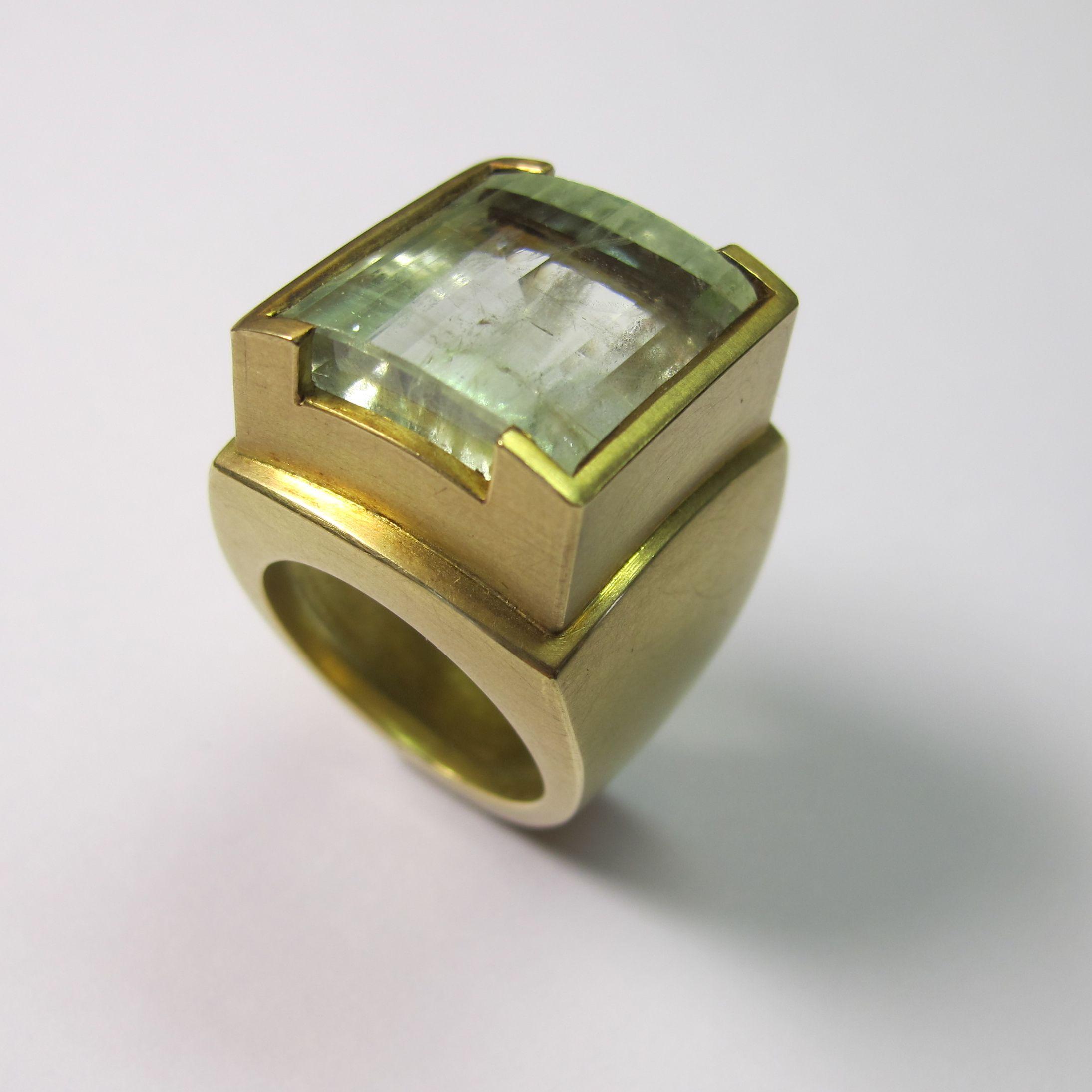 """Steher"" 750er Gold, Aquamarin"