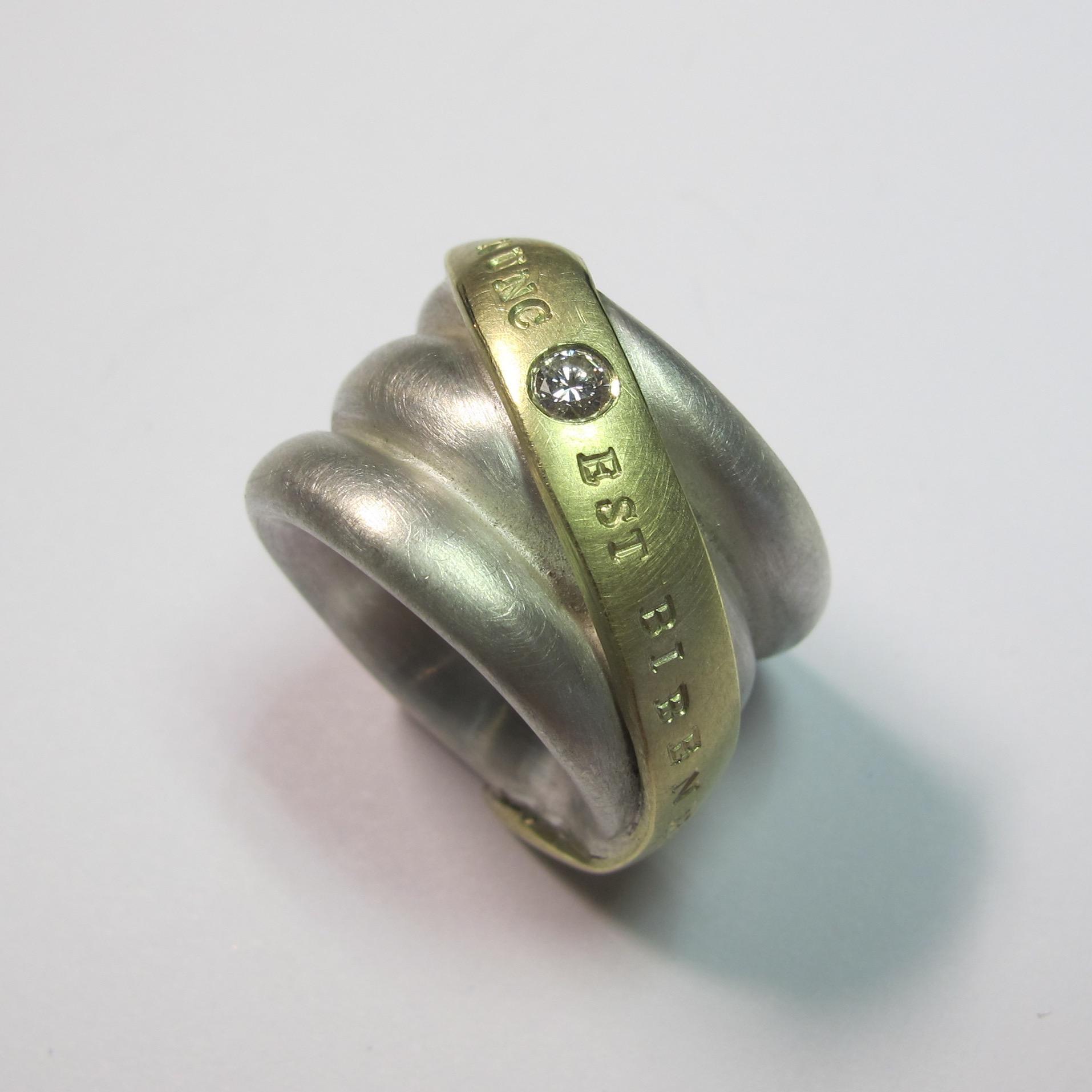 """Bibendum"", Silber, Gold, Brillant"